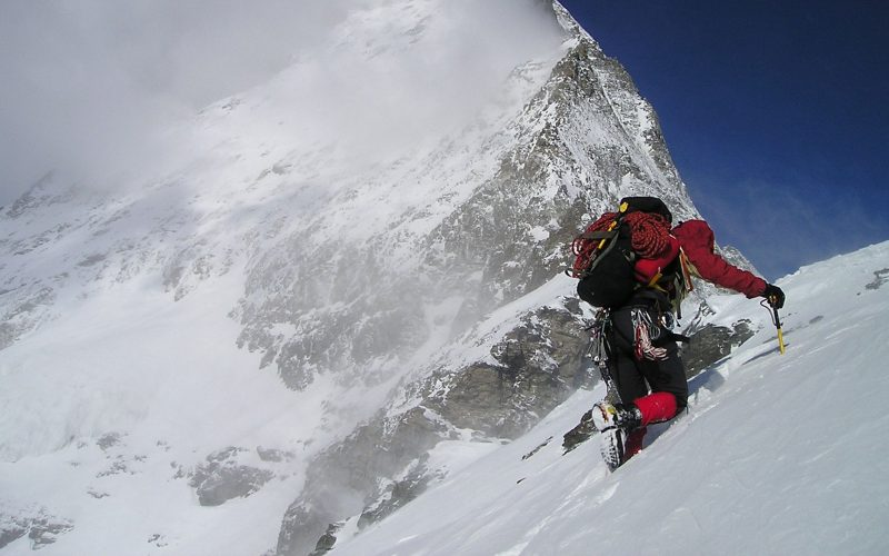Walking on the snow in the Himalayas
