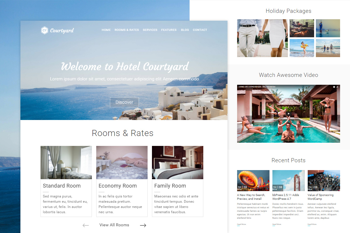 Courtyard WordPress Hotel Theme