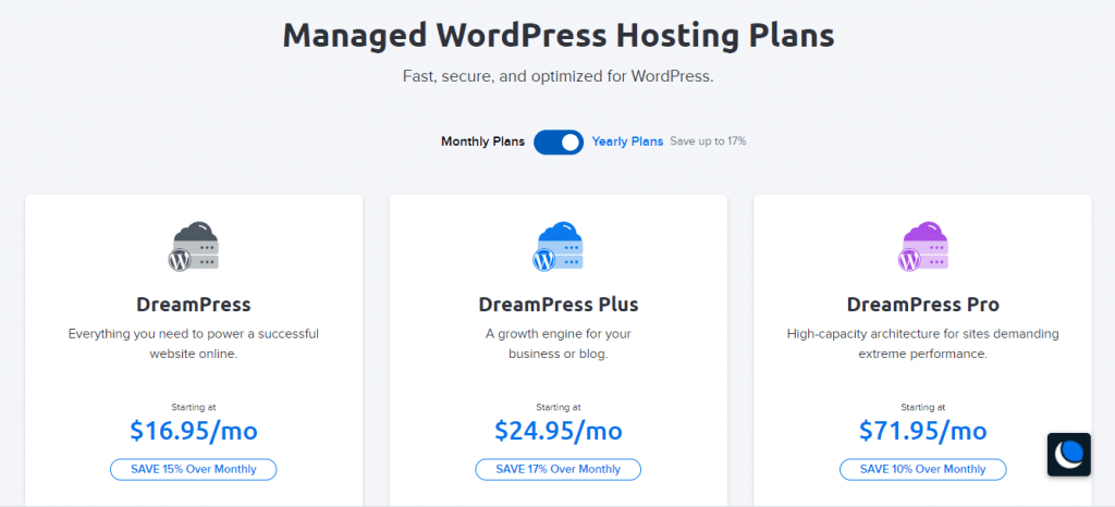 managed WordPress hosting plans on Dreamhost